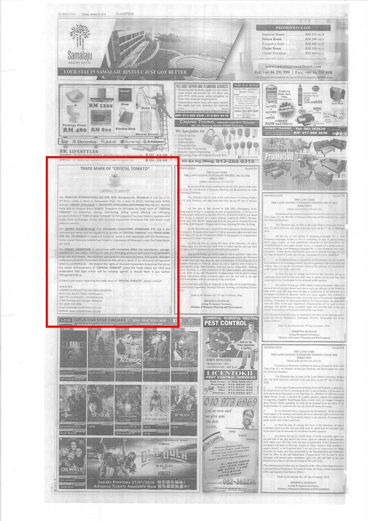 Apology published in The Borneo Post
