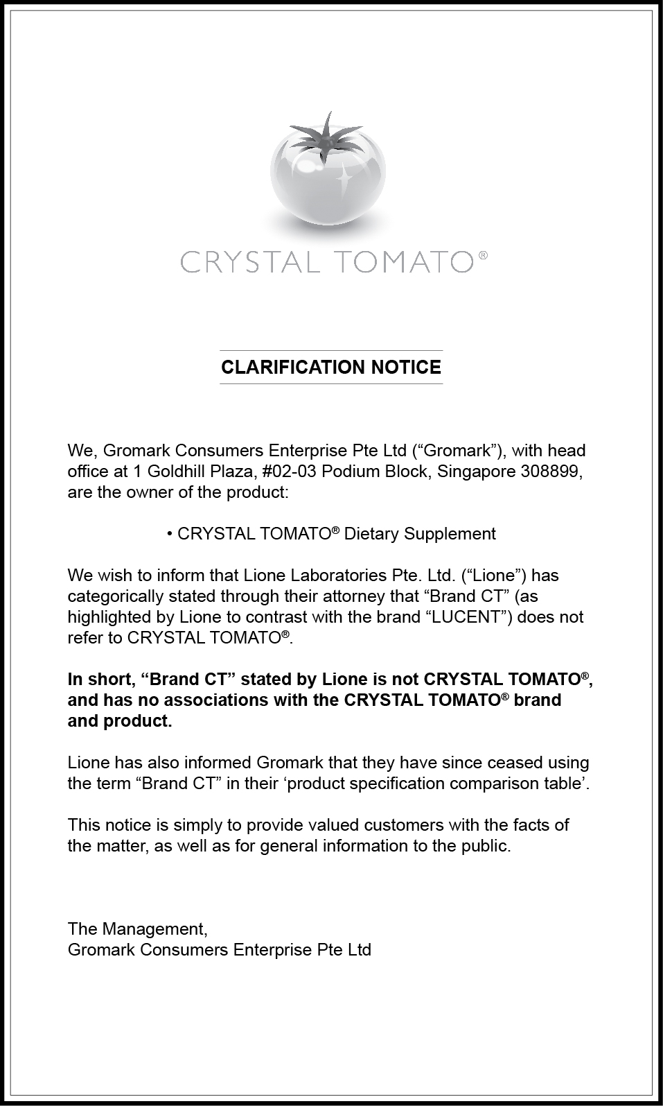 Notice on Lucent Brand CT - SPH ST print (Feb 18)